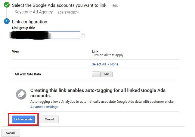 For each of your Google Ads you want to track, turn linking 'ON'. This will enable the simultaneous tracking from Google Analytics and Google Ads.